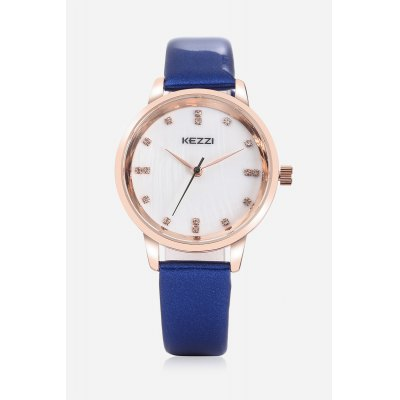 KEZZI K - 1684 Embedded Diamonds Quartz Female WatchWomens Watches<br>KEZZI K - 1684 Embedded Diamonds Quartz Female Watch<br><br>Band material: PU<br>Band size: 22.5cm x 1.4cm<br>Brand: Kezzi<br>Case material: Alloy<br>Clasp type: Pin buckle<br>Dial size: 2.9cm x 2.9cm x 0.8cm<br>Display type: Analog<br>Movement type: Quartz watch<br>Package Contents: 1 x Watch<br>Package size (L x W x H): 25.50 x 4.50 x 2.00 cm / 10.04 x 1.77 x 0.79 inches<br>Package weight: 0.0450 kg<br>Product size (L x W x H): 22.50 x 2.90 x 0.80 cm / 8.86 x 1.14 x 0.31 inches<br>Product weight: 0.0240 kg<br>Shape of the dial: Round<br>Watch color: Blue<br>Watch style: Classic, Cool, Fashion, Business, Casual<br>Watches categories: Female table,Women<br>Water resistance : Life water resistant<br>Wearable length: 16 - 21cm