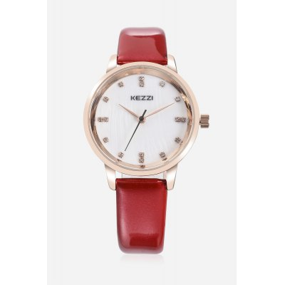 KEZZI K - 1684 Embedded Diamonds Quartz Female WatchWomens Watches<br>KEZZI K - 1684 Embedded Diamonds Quartz Female Watch<br><br>Band material: PU<br>Band size: 22.5cm x 1.4cm<br>Brand: Kezzi<br>Case material: Alloy<br>Clasp type: Pin buckle<br>Dial size: 2.9cm x 2.9cm x 0.8cm<br>Display type: Analog<br>Movement type: Quartz watch<br>Package Contents: 1 x Watch<br>Package size (L x W x H): 25.50 x 4.50 x 2.00 cm / 10.04 x 1.77 x 0.79 inches<br>Package weight: 0.0450 kg<br>Product size (L x W x H): 22.50 x 2.90 x 0.80 cm / 8.86 x 1.14 x 0.31 inches<br>Product weight: 0.0240 kg<br>Shape of the dial: Round<br>Watch color: Wine red<br>Watch style: Classic, Cool, Fashion, Business, Casual<br>Watches categories: Female table,Women<br>Water resistance : Life water resistant<br>Wearable length: 16 - 21cm