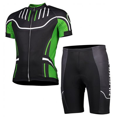 NUCKILY Men Short Sleeves Cycling Suit with Sponge Cushion