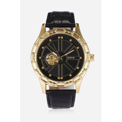 SEWOR SW0311011 Men Auto Mechanical WatchMens Watches<br>SEWOR SW0311011 Men Auto Mechanical Watch<br><br>Band material: PU Leather<br>Band size: 26 x 2cm<br>Brand: Sewor<br>Case material: Stainless Steel<br>Clasp type: Pin buckle<br>Dial size: 4.8 x 4.8 x 1.1cm<br>Display type: Analog<br>Movement type: Automatic mechanical watch<br>Package Contents: 1 x Watch<br>Package size (L x W x H): 27.00 x 5.00 x 2.00 cm / 10.63 x 1.97 x 0.79 inches<br>Package weight: 0.1100 kg<br>Product size (L x W x H): 26.00 x 4.80 x 1.10 cm / 10.24 x 1.89 x 0.43 inches<br>Product weight: 0.0830 kg<br>Shape of the dial: Round<br>Watch style: Hollow-out<br>Watches categories: Men<br>Water resistance : Life water resistant<br>Wearable length: 20 - 24cm