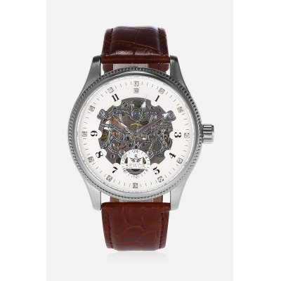 SEWOR SW820 Men Auto Mechanical WatchMens Watches<br>SEWOR SW820 Men Auto Mechanical Watch<br><br>Band material: PU Leather<br>Band size: 26 x 2cm<br>Brand: Sewor<br>Case material: Stainless Steel<br>Clasp type: Pin buckle<br>Dial size: 4.4 x 4.4 x 1.1cm<br>Display type: Analog<br>Movement type: Automatic mechanical watch<br>Package Contents: 1 x Watch<br>Package size (L x W x H): 27.00 x 5.00 x 2.00 cm / 10.63 x 1.97 x 0.79 inches<br>Package weight: 0.0900 kg<br>Product size (L x W x H): 26.00 x 4.40 x 1.10 cm / 10.24 x 1.73 x 0.43 inches<br>Product weight: 0.0680 kg<br>Shape of the dial: Round<br>Watch style: Hollow-out<br>Watches categories: Men<br>Water resistance : Life water resistant<br>Wearable length: 19 - 23.5cm