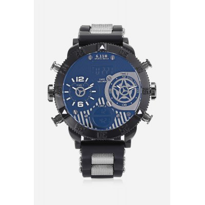 6.11 8159B Men 3-movt Watch 53mmMens Watches<br>6.11 8159B Men 3-movt Watch 53mm<br><br>Band material: Silicone<br>Band size: 28 x 2cm<br>Brand: 6.11<br>Case material: Stainless Steel<br>Clasp type: Pin buckle<br>Dial size: 5.3 x 5.3 x 1.3cm<br>Display type: Analog-Digital<br>Movement type: Multiple Movt<br>Package Contents: 1 x Watch<br>Package size (L x W x H): 29.00 x 6.00 x 2.00 cm / 11.42 x 2.36 x 0.79 inches<br>Package weight: 0.1500 kg<br>Product size (L x W x H): 28.00 x 5.30 x 1.30 cm / 11.02 x 2.09 x 0.51 inches<br>Product weight: 0.1260 kg<br>Shape of the dial: Round<br>Special features: Alarm Clock, Date, Light<br>Watch style: Trends in outdoor sports<br>Watches categories: Men<br>Water resistance : Life water resistant<br>Wearable length: 19 - 25cm