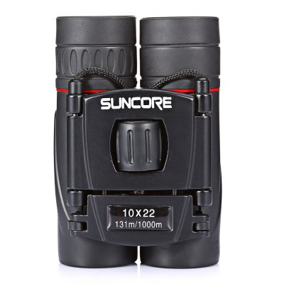 SUNCORE Water-resistant Mini 10 x 22mm Binocular TelescopeBinoculars and Telescopes<br>SUNCORE Water-resistant Mini 10 x 22mm Binocular Telescope<br><br>Amplification Factor: 10X<br>Brand: SUNCORE<br>Coating Film: FMC<br>Exit pupil diameter: 2.2mm<br>Exit pupil distance: 10mm<br>Eyepiece Diameter: 8mm<br>Features: Waterproof, Foldable Eye Cup, Anti-slip<br>Field Angle(degree): 7 degree<br>Field of view: 131 / 1000m<br>For: Hunting, Beach, Bird watching, Boating/Yachting, Theater, Horse racing<br>Material: Plastic<br>Objective Lens (mm) : 22mm<br>Optical Material: BK-7<br>Package Contents: 1 x SUNCORE Binocular, 1x Cleaning Cloth, 1 x Storage Bag, 1 x English User Manual<br>Package size (L x W x H): 12.00 x 9.00 x 6.00 cm / 4.72 x 3.54 x 2.36 inches<br>Package weight: 0.2510 kg<br>Prism System: Roof System<br>Product size (L x W x H): 9.00 x 6.00 x 3.50 cm / 3.54 x 2.36 x 1.38 inches<br>Product weight: 0.1820 kg<br>Type: Binocular Telescope