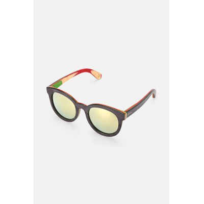 Colored Lens Multi-layer Wood Frame Polarized Sunglasses