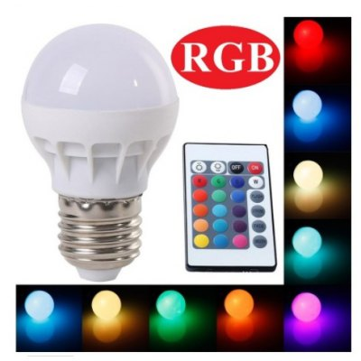 3W E27 LED RGB Power Saving LampGlobe bulbs<br>3W E27 LED RGB Power Saving Lamp<br><br>Angle: 270 degree<br>Available Light Color: RGB<br>Emitter Types: SMD 5050<br>Features: Remote-Controlled, Energy Saving<br>Function: Commercial Lighting, Studio and Exhibition Lighting, Home Lighting<br>Holder: E27<br>Luminous Flux: 180LM<br>Output Power: 3W<br>Package Contents: 1 x Ball Bulb<br>Package size (L x W x H): 9.00 x 5.50 x 5.50 cm / 3.54 x 2.17 x 2.17 inches<br>Package weight: 0.0550 kg<br>Product size (L x W x H): 7.80 x 4.50 x 4.50 cm / 3.07 x 1.77 x 1.77 inches<br>Product weight: 0.0300 kg<br>Sheathing Material: Plastic<br>Type: Ball Bulbs<br>Voltage (V): 85-265V