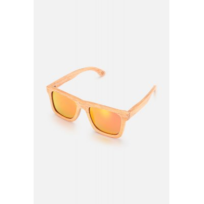 BEDATE Colored Lens Wood Frame Rectangle Sunglasses
