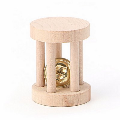 Natural Wood Chew Toy Bell Roller for Pet Hamsters