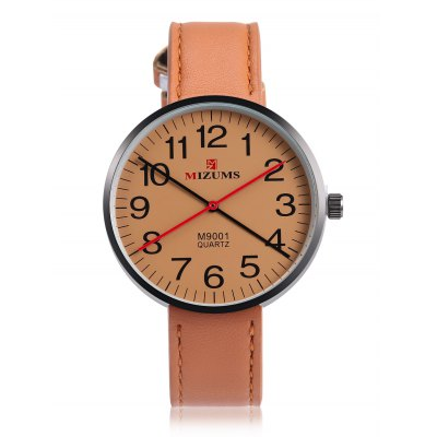 MIZUMS MZ M9001 Men Quartz Watch 42mmMens Watches<br>MIZUMS MZ M9001 Men Quartz Watch 42mm<br><br>Band material: Leather<br>Band size: 24 x 1.7cm<br>Brand: MIZUMS MZ<br>Case material: Alloy<br>Clasp type: Pin buckle<br>Dial size: 4.2 x 4.2 x 0.7cm<br>Display type: Analog<br>Movement type: Quartz watch<br>Package Contents: 1 x Watch<br>Package size (L x W x H): 25.00 x 5.00 x 1.00 cm / 9.84 x 1.97 x 0.39 inches<br>Package weight: 0.0600 kg<br>Product size (L x W x H): 24.00 x 4.20 x 0.70 cm / 9.45 x 1.65 x 0.28 inches<br>Product weight: 0.0390 kg<br>Shape of the dial: Round<br>Watch style: Fashion<br>Watches categories: Men<br>Water resistance : Life water resistant<br>Wearable length: 18.5 - 22cm