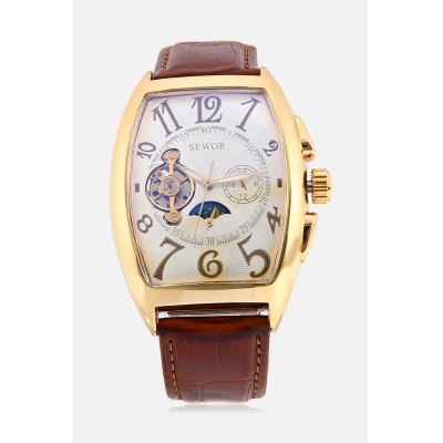 Men Tourbillon Mechanical WatchMens Watches<br>Men Tourbillon Mechanical Watch<br><br>Band material: PU Leather<br>Band size: 26 x 2cm<br>Case material: Stainless Steel<br>Clasp type: Pin buckle<br>Dial size: 4.5 x 3.5 x 1.2cm<br>Display type: Analog<br>Movement type: Mechanical watch<br>Package Contents: 1 x Watch<br>Package size (L x W x H): 27.00 x 4.00 x 2.00 cm / 10.63 x 1.57 x 0.79 inches<br>Package weight: 0.1100 kg<br>Product size (L x W x H): 26.00 x 3.50 x 1.20 cm / 10.24 x 1.38 x 0.47 inches<br>Product weight: 0.0890 kg<br>Shape of the dial: Rectangle<br>Special features: Phases of the moon, Luminous<br>Watch style: Hollow-out<br>Watches categories: Men<br>Water resistance : Life water resistant<br>Wearable length: 19.5 - 23.5cm