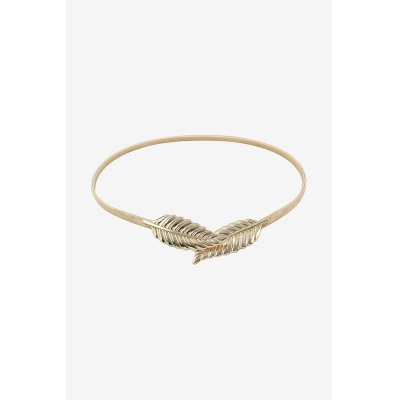 Skinny Metal Leaves Elastic Stretch Belt for Women