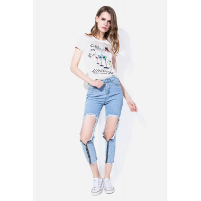 Zipper-up Slim Cropped Jeans with Ripped Detail