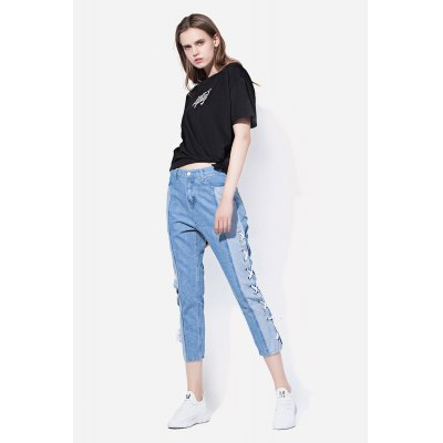 Lace-up Sides Cropped Jeans with Slim Leg