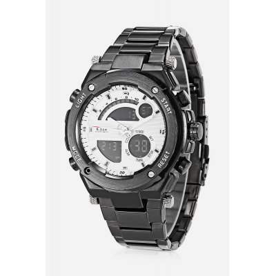 Men 2-movt Watch 46mmMens Watches<br>Men 2-movt Watch 46mm<br><br>Band material: Stainless Steel<br>Band size: 21cm<br>Case material: Stainless Steel<br>Clasp type: Folding clasp with safety<br>Dial size: 4.6 x 4.6 x 1.4cm<br>Display type: Analog-Digital<br>Movement type: Quartz + digital watch<br>Package Contents: 1 x Watch<br>Package size (L x W x H): 22.00 x 5.00 x 2.00 cm / 8.66 x 1.97 x 0.79 inches<br>Package weight: 0.2300 kg<br>Product size (L x W x H): 21.00 x 4.60 x 1.40 cm / 8.27 x 1.81 x 0.55 inches<br>Product weight: 0.2000 kg<br>Shape of the dial: Round<br>Special features: Light, Alarm Clock<br>Watch style: Fashion<br>Watches categories: Men<br>Water resistance : Life water resistant