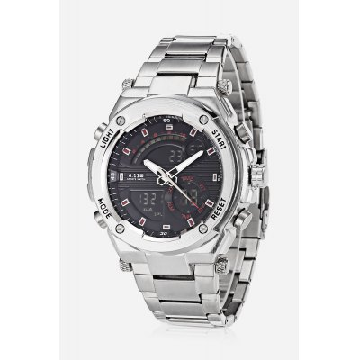 Men 2-movt Watch 46mmMens Watches<br>Men 2-movt Watch 46mm<br><br>Band material: Stainless Steel, Stainless Steel<br>Band size: 21cm , 21cm<br>Case material: Stainless Steel, Stainless Steel<br>Clasp type: Folding clasp with safety, Folding clasp with safety<br>Dial size: 4.6 x 4.6 x 1.4cm , 4.6 x 4.6 x 1.4cm<br>Display type: Analog-Digital, Analog-Digital<br>Movement type: Quartz + digital watch, Quartz + digital watch<br>Package Contents: 1 x Watch , 1 x Watch<br>Package size (L x W x H): 22.00 x 5.00 x 2.00 cm / 8.66 x 1.97 x 0.79 inches, 22.00 x 5.00 x 2.00 cm / 8.66 x 1.97 x 0.79 inches<br>Package weight: 0.2300 kg, 0.2300 kg<br>Product size (L x W x H): 21.00 x 4.60 x 1.40 cm / 8.27 x 1.81 x 0.55 inches, 21.00 x 4.60 x 1.40 cm / 8.27 x 1.81 x 0.55 inches<br>Product weight: 0.2000 kg, 0.2000 kg<br>Shape of the dial: Round, Round<br>Special features: Light, Light, Alarm Clock, Alarm Clock<br>Watch style: Fashion, Fashion<br>Watches categories: Men, Men<br>Water resistance : Life water resistant, Life water resistant