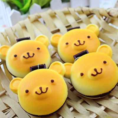 Cartoon Bear Macaron Mirror PU Foam Squishy Toy 1pc