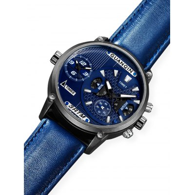 GUANQIN GS19076 Men Quartz Watch with Dual Time ZoneMens Watches<br>GUANQIN GS19076 Men Quartz Watch with Dual Time Zone<br><br>Band material: Genuine Leather<br>Band size: 22 x 2cm<br>Brand: GUANQIN<br>Case material: Stainless Steel<br>Clasp type: Pin buckle<br>Dial size: 5 x 5 x 1.3cm<br>Display type: Analog<br>Movement type: Quartz watch<br>Package Contents: 1 x Watch, 1 x Box<br>Package size (L x W x H): 15.00 x 10.00 x 3.00 cm / 5.91 x 3.94 x 1.18 inches<br>Package weight: 0.1900 kg<br>Product size (L x W x H): 22.00 x 5.00 x 1.30 cm / 8.66 x 1.97 x 0.51 inches<br>Product weight: 0.0900 kg<br>Shape of the dial: Round<br>Special features: Luminous, Multi Time Zones<br>Watch style: Fashion<br>Watches categories: Men<br>Water resistance : 30 meters<br>Wearable length: 16.5 - 20.5cm