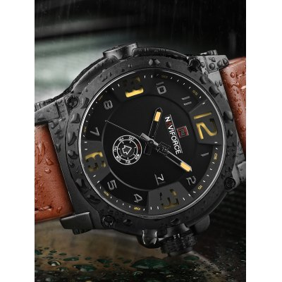 NAVIFORCE NF9099 Men Quartz WatchMens Watches<br>NAVIFORCE NF9099 Men Quartz Watch<br><br>Band material: PU Leather<br>Band size: 24.5 x 2.4cm<br>Brand: Naviforce<br>Case material: Alloy<br>Clasp type: Pin buckle<br>Dial size: 4.55 x 4.55 x 1.4cm<br>Display type: Analog<br>Movement type: Quartz watch<br>Package Contents: 1 x Watch<br>Package size (L x W x H): 28.00 x 7.00 x 2.00 cm / 11.02 x 2.76 x 0.79 inches<br>Package weight: 0.1200 kg<br>Product size (L x W x H): 24.50 x 4.55 x 1.40 cm / 9.65 x 1.79 x 0.55 inches<br>Product weight: 0.0930 kg<br>Shape of the dial: Round<br>Special features: Date, Day<br>Watch style: Fashion<br>Watches categories: Men<br>Water resistance : 30 meters<br>Wearable length: 18.5 - 22.5cm