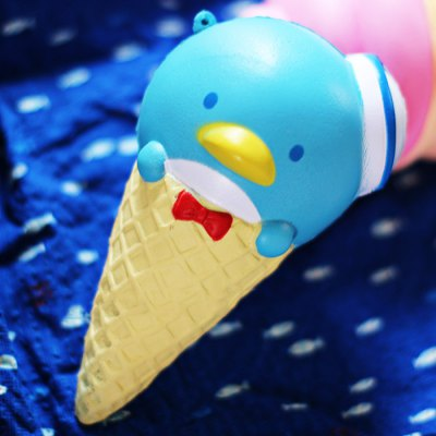 Realistic Penguin Ice Cream Cone PU Foam Squishy Toy