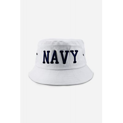 NAVY Embroidered Sun Protection Cotton Bucket Hat