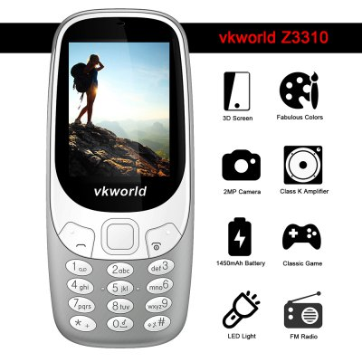 Vkworld Z3310 Quad Band Unlocked PhoneCell phones<br>Vkworld Z3310 Quad Band Unlocked Phone<br><br>Additional Features: FM, Bluetooth, MP3, People<br>Back-camera: 2.0MP<br>Battery: 1 x 1450mAh<br>Bluetooth: Yes<br>Brand: VKWORLD<br>Camera type: Single camera<br>Cell Phone: 1<br>Charger: 1<br>English Manual : 1<br>External Memory: TF card up to 8GB (not included)<br>Frequency: GSM 850/900/1800/1900MHz<br>Languages: English, French, German, Russian, Italian<br>Music format: MP3<br>Network type: GSM<br>Package size: 13.50 x 7.50 x 6.00 cm / 5.31 x 2.95 x 2.36 inches<br>Package weight: 0.2300 kg<br>Picture format: JPEG<br>Product size: 12.60 x 5.50 x 1.55 cm / 4.96 x 2.17 x 0.61 inches<br>Product weight: 0.1020 kg<br>Screen size: 2.4 inch<br>SIM Card Slot: Dual SIM, Dual Standby<br>TF card slot: Yes<br>Type: Bar Phone<br>Video format: MP4