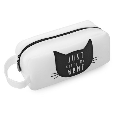 Cute Cat Pattern Silicone Simple Large Capacity Pencil Case