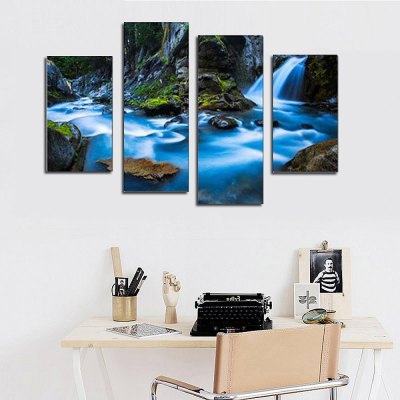 4PCS Waterfall Pattern Canvas Removable Wallpaper Wall Sticker