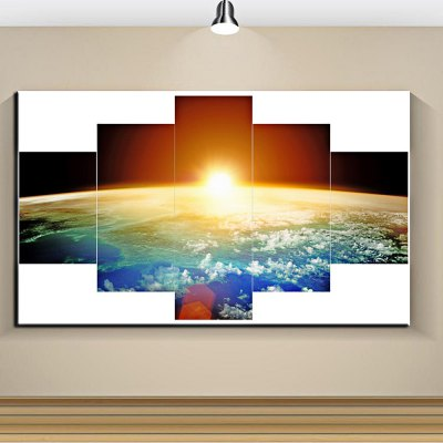 5PCS Earth Pattern Canvas Removable Wallpaper Wall Sticker