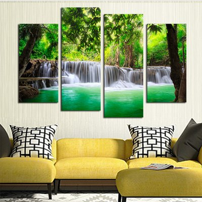 4PCS Forest Tree Pattern Canvas Removable Wallpaper Wall Sticker