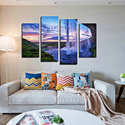 4PCS Waterfall Printed Canvas Removable Wallpaper Wall Sticker