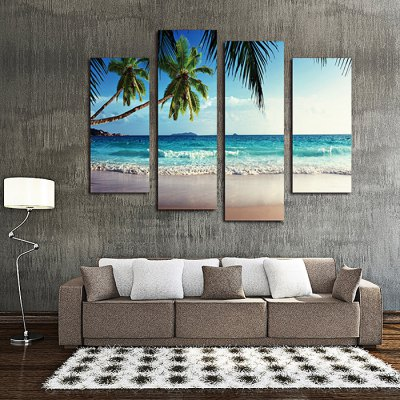 4PCS Sky Coco Printed Canvas Removable Wallpaper Wall Sticker