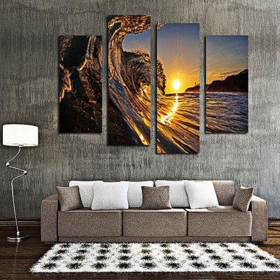 4PCS Sea Wave Printed Canvas Removable Wallpaper Wall Sticker