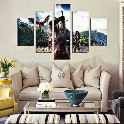 4PCS Game Character Printed Canvas Removable Wallpaper Wall Sticker