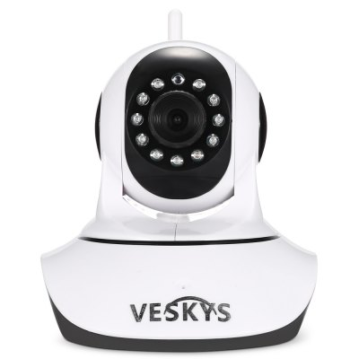 VESKYS 720P HD WiFi IP CameraIP Cameras<br>VESKYS 720P HD WiFi IP Camera<br><br>APP: CamHi<br>APP Language: English,Simplified Chinese<br>Audio Input: Built-in mic.<br>Audio Output: Built-in speaker<br>Backlight Compensation: Yes<br>Brand: VESKYS<br>Compatible Operation Systems: Microsoft Windows 98/ ME /2000/ XP,Windows 7,Windows 8<br>Environment: Home,Indoor<br>Features: HD<br>FOV: 90 degree<br>Frame Rate (FPS): 25fps<br>Image Adjustment: Brightness,Color saturation,Contrast,Sharpness<br>Infrared Distance: 8m<br>Infrared LED: 11pcs LEDs<br>Interface: TF Card Slot<br>IP camera performance: Interphone, Motion Detection, Backlight Compensation, White Balance, Screenshot, Night Vision<br>IP Mode : Dynamic IP address<br>Language: English,Simplified Chinese<br>Local-storage: TF / Micro SD card up to 128GB<br>Maximum Monitoring Range: 8m<br>Minimum Illumination: 0.1 Lux<br>Mobile Access: Android,IOS<br>Motion Detection Distance: 10m<br>Network Port: RJ-45<br>Online Visitor (Max.): 4<br>Operate Temperature (?): 010 - 45 Deg.C<br>Package Contents: 1 x IP Camera ( with an Antenna ), 1 x Power Adapter, 1 x USB Cable, 1 x Holder Stand, 2 x Screw, 2 x Screw Cap, 1 x English User Manual<br>Package size (L x W x H): 22.00 x 15.00 x 16.50 cm / 8.66 x 5.91 x 6.5 inches<br>Package weight: 0.6040 kg<br>Pan/Tilt-Horizontal Angle (degree) : 350 degree<br>Pan/Tilt-Vertical Angle (degree) : 120 degree<br>Pixels: 1MP<br>Product size (L x W x H): 11.00 x 14.00 x 14.00 cm / 4.33 x 5.51 x 5.51 inches<br>Product weight: 0.2640 kg<br>Protocol: DHCP,FTP,HTTP,IP,SMTP,TCP,UDP,UPNP<br>Resolution: 1080 x 720<br>Sensor: CMOS<br>Sensor Size: 3.6mm<br>Sensor size (inch): 1/4<br>Shape: Mini Camera<br>Technical Feature: WiFi, Pan/Tilt/Zoom, Infrared<br>Video Compression Format: H.264<br>Video format: H.264<br>Video Resolution: 720P<br>Waterproof: No<br>White Balance: Yes<br>WiFi Distance : 10m without obstacle<br>Wireless: WiFi 802.11 b/g/n<br>Working Humidity (%) RH: 20 - 85pct RH<br>Working Voltage: 5V