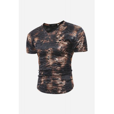 Men Ripped V Neck T-shirtMens Short Sleeve Tees<br>Men Ripped V Neck T-shirt<br><br>Material: Cotton, Polyester<br>Neckline: V Neck<br>Package Content: 1 x T-shirt<br>Package size: 30.00 x 20.00 x 2.00 cm / 11.81 x 7.87 x 0.79 inches<br>Package weight: 0.2200 kg<br>Product weight: 0.1800 kg<br>Season: Summer<br>Sleeve Length: Short Sleeves<br>Style: Casual