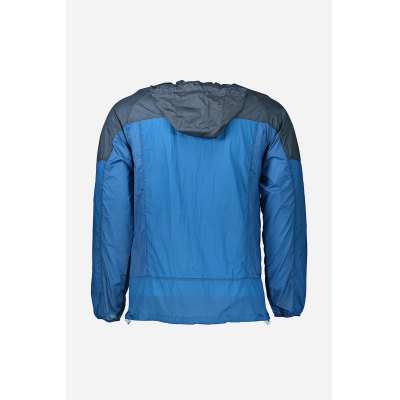 Anti UV Waterproof Men Hooded WindbreakerMens Jackets &amp; Coats<br>Anti UV Waterproof Men Hooded Windbreaker<br><br>Closure Type: Zipper<br>Clothes Type: Jackets<br>Collar: Hooded<br>Embellishment: Zippers<br>Materials: Chinlon<br>Package Content: 1 x Hooded Windbreaker<br>Package Dimension: 28.00 x 33.00 x 3.00 cm / 11.02 x 12.99 x 1.18 inches<br>Package weight: 0.1500 kg<br>Pattern Type: Patchwork<br>Product Dimension: 1.00 x 1.00 x 1.00 cm / 0.39 x 0.39 x 0.39 inches<br>Product weight: 0.1120 kg<br>Seasons: Autumn,Spring,Summer<br>Shirt Length: Regular<br>Sleeve Length: Long Sleeves<br>Style: Casual, Fashion<br>Thickness: Thin