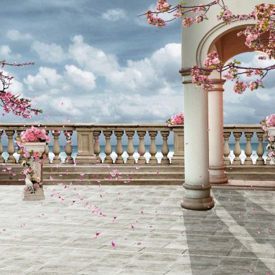 Rome Column with Cherry Photography Background Cloth