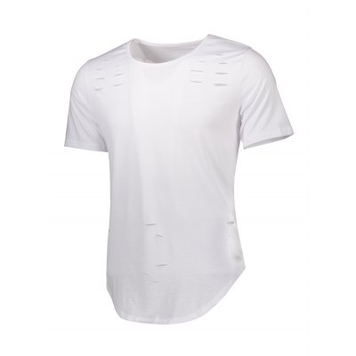 Curve Bottom Distressed Long T-shirt for MenMens Short Sleeve Tees<br>Curve Bottom Distressed Long T-shirt for Men<br><br>Fabric Type: Polyester, Cotton<br>Neckline: Round Neck<br>Package Content: 1 x T-shirt , 1 x T-shirt<br>Package size: 30.00 x 25.00 x 1.00 cm / 11.81 x 9.84 x 0.39 inches<br>Package weight: 0.1800 kg<br>Pattern Type: Solid<br>Product weight: 0.1550 kg<br>Season: Summer<br>Sleeve Length: Short Sleeves<br>Style: Casual