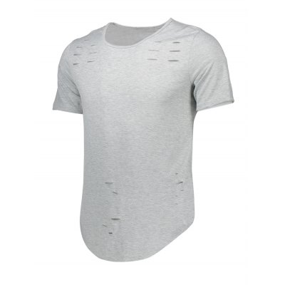 Curve Bottom Distressed Long T-shirt for MenMens Short Sleeve Tees<br>Curve Bottom Distressed Long T-shirt for Men<br><br>Fabric Type: Cotton, Polyester<br>Neckline: Round Neck<br>Package Content: 1 x T-shirt<br>Package size: 30.00 x 25.00 x 1.00 cm / 11.81 x 9.84 x 0.39 inches<br>Package weight: 0.1800 kg<br>Pattern Type: Solid<br>Product weight: 0.1550 kg<br>Season: Summer<br>Sleeve Length: Short Sleeves<br>Style: Casual