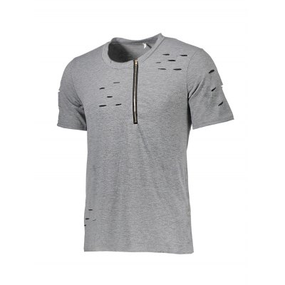 Zipper Men Distressed T-shirtMens Short Sleeve Tees<br>Zipper Men Distressed T-shirt<br><br>Fabric Type: Cotton, Polyester<br>Neckline: Round Neck<br>Package Content: 1 x T-shirt<br>Package size: 30.00 x 25.00 x 1.00 cm / 11.81 x 9.84 x 0.39 inches<br>Package weight: 0.2000 kg<br>Pattern Type: Solid<br>Product weight: 0.1800 kg<br>Season: Summer<br>Sleeve Length: Short Sleeves