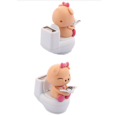 Car Reading On Toilet Bowl Pig Solar ToyCar Ornaments &amp; Pendant<br>Car Reading On Toilet Bowl Pig Solar Toy<br><br>Material: ABS<br>Package Contents: 1 x Car Decor<br>Package size (L x W x H): 8.00 x 8.00 x 6.00 cm / 3.15 x 3.15 x 2.36 inches<br>Package weight: 0.0740 kg<br>Product size (L x W x H): 6.80 x 5.80 x 3.30 cm / 2.68 x 2.28 x 1.3 inches<br>Product weight: 0.0500 kg