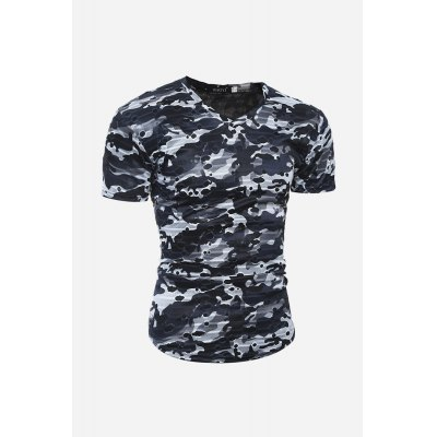 Men Fashion Ripped T-shirtMens Short Sleeve Tees<br>Men Fashion Ripped T-shirt<br><br>Fabric Type: Cotton, Polyester<br>Neckline: V Neck<br>Package Content: 1 x T-shirt<br>Package size: 30.00 x 20.00 x 2.00 cm / 11.81 x 7.87 x 0.79 inches<br>Package weight: 0.2200 kg<br>Product weight: 0.1800 kg<br>Season: Summer<br>Sleeve Length: Short Sleeves<br>Style: Casual