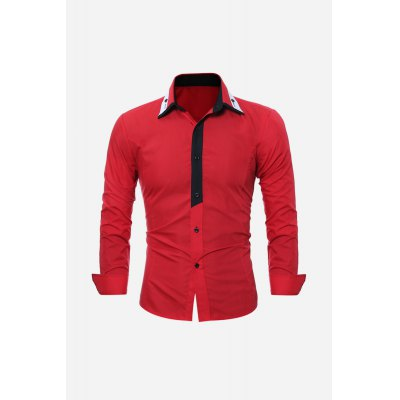 Men Splice Slim Shirt