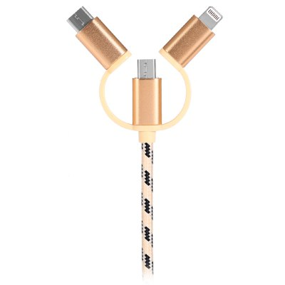 3-in-1 1m USB Data Sync CableChargers &amp; Cables<br>3-in-1 1m USB Data Sync Cable<br><br>Cable Length (cm): 100cm<br>Features: ALL-in-1<br>Interface Type: USB Type-C, 8 pin, Micro USB, USB 2.0<br>Material ( Cable&amp;Adapter): Aluminum Alloy<br>Package Contents: 1 x 100cm 3-in-1 USB Cable<br>Package size (L x W x H): 16.00 x 11.50 x 2.00 cm / 6.3 x 4.53 x 0.79 inches<br>Package weight: 0.0540 kg<br>Product size (L x W x H): 100.00 x 1.60 x 0.70 cm / 39.37 x 0.63 x 0.28 inches<br>Product weight: 0.0330 kg<br>Type: Cable