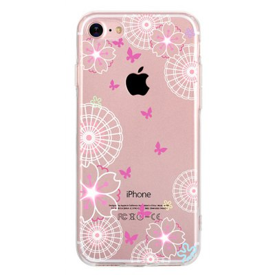 Butterfly Sakura Grain TPU Case Cover for iPhone 7