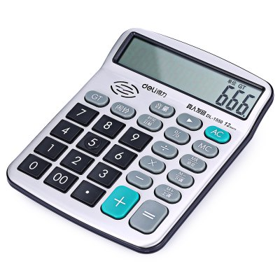 Deli 1550A Talking Calculator 12 Digit Calculating ToolDesk Organizers<br>Deli 1550A Talking Calculator 12 Digit Calculating Tool<br><br>Brand: Deli<br>Features: Calculating Tool<br>Model: 1550A<br>Package Contents: 1 x Deli 1550A Talking Calculator, 2 x AA Battery , 1 x Deli 1550A Talking Calculator, 2 x AA Battery<br>Package size (L x W x H): 22.50 x 15.00 x 4.50 cm / 8.86 x 5.91 x 1.77 inches, 22.50 x 15.00 x 4.50 cm / 8.86 x 5.91 x 1.77 inches<br>Package weight: 0.2030 kg, 0.2030 kg<br>Product size (L x W x H): 15.50 x 12.00 x 3.00 cm / 6.1 x 4.72 x 1.18 inches, 15.50 x 12.00 x 3.00 cm / 6.1 x 4.72 x 1.18 inches<br>Product weight: 0.1800 kg