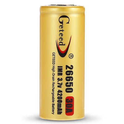 Geteed 4200mAh 3.7V 26650 Li-ion Rechargeable BatteryBatteries<br>Geteed 4200mAh 3.7V 26650 Li-ion Rechargeable Battery<br><br>Battery: 26650<br>Battery Type: Lithium-ion<br>Brand: Geteed<br>Head Type: Button Top<br>Package Contents: 4 x Geteed 4200mAh Li-ion Rechargeable Battery<br>Package size (L x W x H): 6.20 x 6.20 x 7.50 cm / 2.44 x 2.44 x 2.95 inches<br>Package weight: 0.4000 kg<br>Product size (L x W x H): 2.60 x 2.60 x 6.50 cm / 1.02 x 1.02 x 2.56 inches<br>Product weight: 0.0880 kg<br>Protected: No<br>Rechargeable: Yes<br>Type: Battery<br>Voltage(V): 3.7V