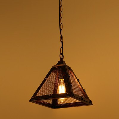 CY - DD - 329 Pyramid Shape E27 Base Pendant Light 85 - 265VPendant Light<br>CY - DD - 329 Pyramid Shape E27 Base Pendant Light 85 - 265V<br><br>Beam Angle: 360 Degree<br>Bulb Base Type: E27<br>Bulb Included: No<br>Function: Commercial Lighting, Home Lighting<br>Package Contents: 1 x Lampshade, 1 x Light Bulb Base, 1 x Ceiling Plate<br>Package size (L x W x H): 38.00 x 38.00 x 37.00 cm / 14.96 x 14.96 x 14.57 inches<br>Package weight: 2.5600 kg<br>Product size (L x W x H): 27.00 x 27.00 x 31.00 cm / 10.63 x 10.63 x 12.2 inches<br>Product weight: 1.9500 kg<br>Quantity of Spots: 1<br>Sheathing Material: Iron<br>Style: Industrial, Europe<br>Type: Pendants<br>Voltage (V): AC 85-265
