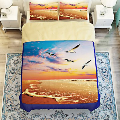 4-piece Polyester Bedding Set Flying Seagulls PatternBedding Sets<br>4-piece Polyester Bedding Set Flying Seagulls Pattern<br><br>Package Contents: 1 x Pillowcase, 1 x Duvet Cover, 1 x Flat Sheet, 1 x Fitted Sheet<br>Package size (L x W x H): 40.00 x 30.00 x 4.00 cm / 15.75 x 11.81 x 1.57 inches<br>Package weight: 1.5500 kg<br>Pattern Type: Bird<br>Product weight: 1.5000 kg<br>Style: Scenery / Landscape<br>Type: Single