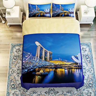 5-piece Polyester Bedding Set Singapore Night Scene PatternBedding Sets<br>5-piece Polyester Bedding Set Singapore Night Scene Pattern<br><br>Package Contents: 2 x Pillowcase, 1 x Duvet Cover, 1 x Flat Sheet, 1 x Fitted Sheet<br>Package size (L x W x H): 40.00 x 30.00 x 4.00 cm / 15.75 x 11.81 x 1.57 inches<br>Package weight: 2.2500 kg<br>Product weight: 2.2000 kg<br>Style: Scenery / Landscape<br>Type: Double
