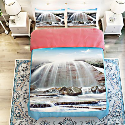 5-piece Polyester Bedding Set Waterfall PatternBedding Sets<br>5-piece Polyester Bedding Set Waterfall Pattern<br><br>Package Contents: 2 x Pillowcase, 1 x Duvet Cover, 1 x Flat Sheet, 1 x Fitted Sheet<br>Package size (L x W x H): 40.00 x 30.00 x 4.00 cm / 15.75 x 11.81 x 1.57 inches<br>Package weight: 2.0500 kg<br>Product weight: 2.0000 kg<br>Style: Scenery / Landscape<br>Type: Double